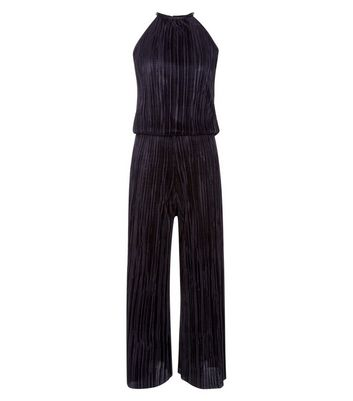Teens Black Plisse High Neck Jumpsuit New Look