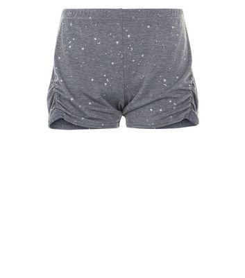 Dark Grey Metallic Star Print Pyjama Shorts New Look