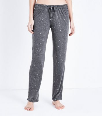 Dark Grey Metallic Star Print Pyjama Trousers New Look