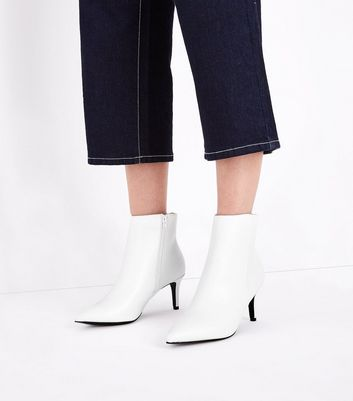 White Kitten Heel Pointed Ankle Boots