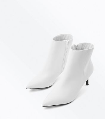 White Kitten Heel Pointed Ankle Boots New Look