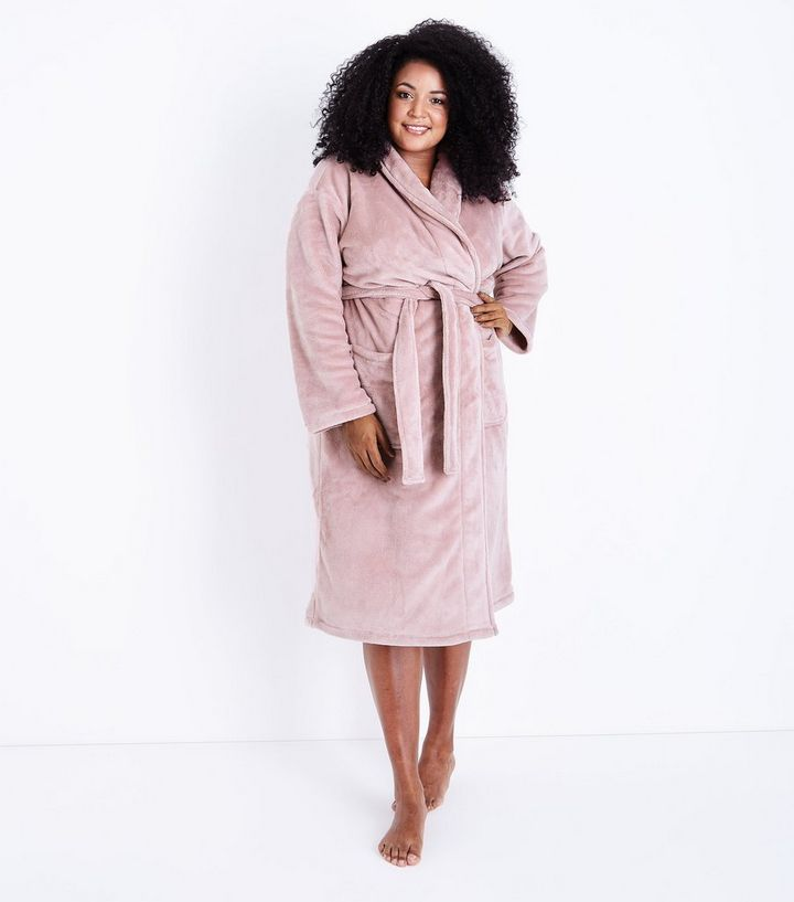 Curves Pink Fluffy Dressing Gown | New Look