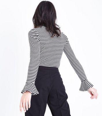 Black Stripe Frill Sleeve Cuff Top New Look