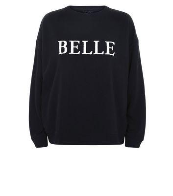 Black Beaded Belle Print Sweatshirt New Look