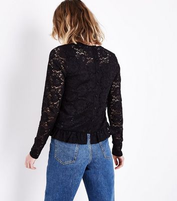 Tall Black Lace Frill Hem Blouse New Look