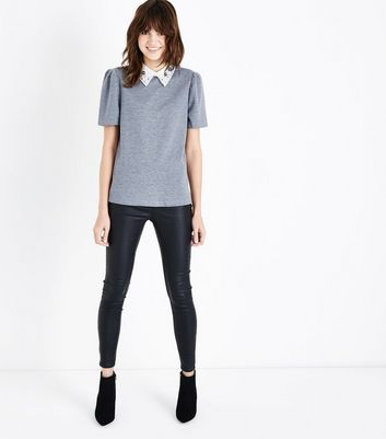 Tall Grey Embellished Collar Fine Knit Top New Look