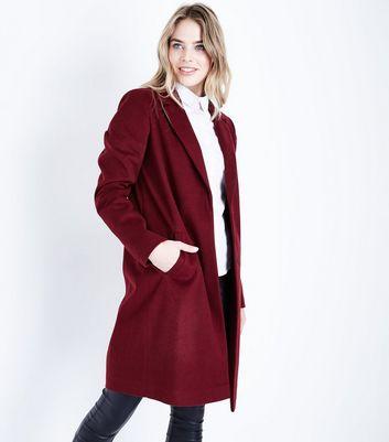 Tall Burgundy Longline Collared Coat New Look