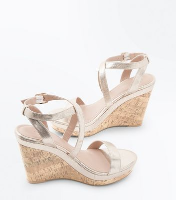 Gold Metallic Strappy Wedges New Look