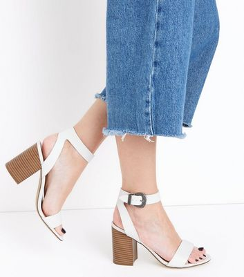 White Western Buckle Wood Heel Sandals New Look