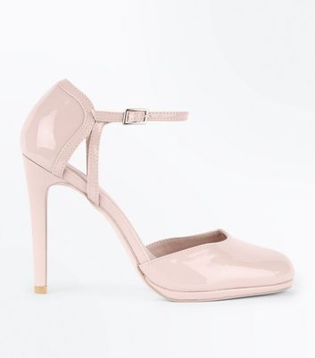 Nude Patent Ankle Strap Round Toe Courts New Look