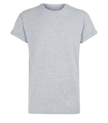 Grey Marl Rolled Sleeve T-Shirt New Look