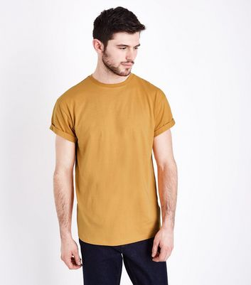 Yellow Rolled Sleeve T-Shirt New Look