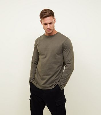 Khaki Long Sleeve Crew Neck T-Shirt New Look