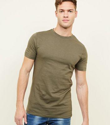 Khaki Short Sleeve Muscle Fit T-Shirt New Look