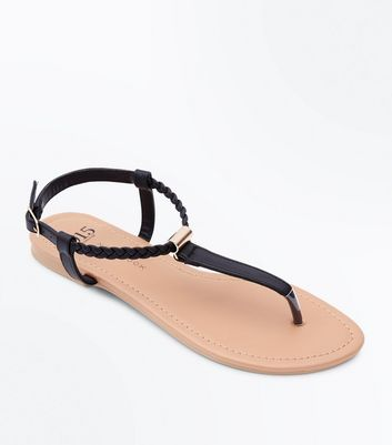 Girls Black Plait Strap Flat Sandals