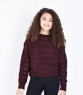Teens Burgundy Pointelle Jumper New Look