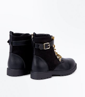 Black Contrast Panel Lace Up Worker Boots New Look
