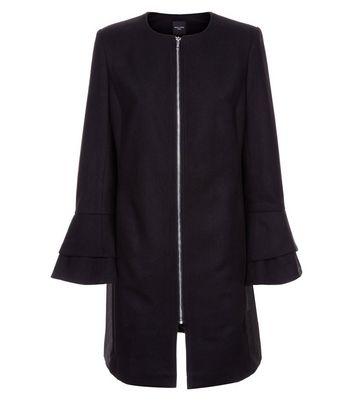 Tall Black Collarless Tiered Sleeve Coat New Look