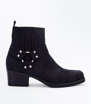 Black Suedette Square Toe Stirrup Western Boots New Look
