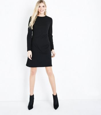 Tall Black Cut Out Back Crepe Tunic Dress New Look