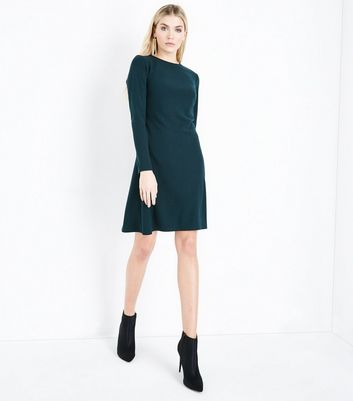 Tall Dark Green Cut Out Back Crepe Tunic Dress New Look