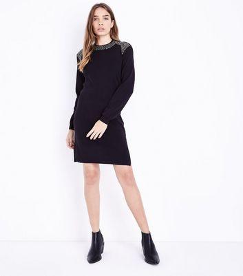 QED Black Gem Embellished Jumper Dress New Look