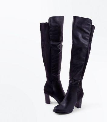 Black Contrast Panel Block Heel Knee High Boots New Look