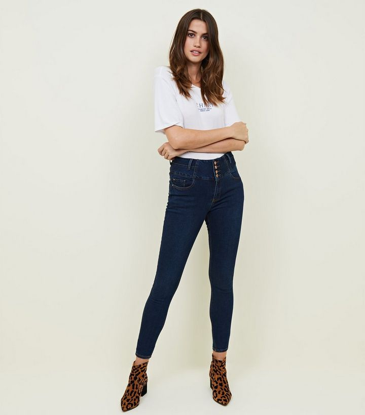 057a33ac5d41b Tall Blue Rinse Wash Button Front High Waist Skinny Jeans