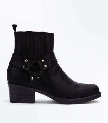 Black Square Toe Stirrup Western Boots New Look