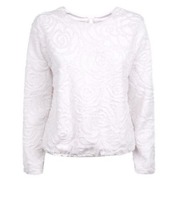 QED Cream Floral Faux Fur Top New Look
