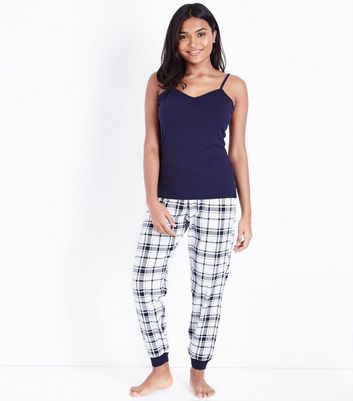 Petite Blue Check Pyjama Set New Look