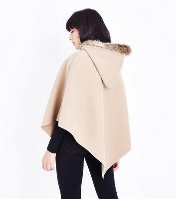 Mela Tan Zip Front Hooded Poncho New Look