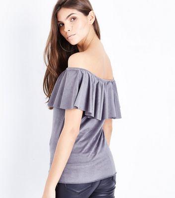 Mela Grey Suedette Bardot Neck Top New Look