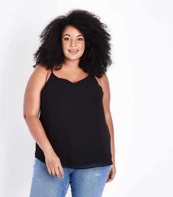 New Strappy Cami Top Look Curves Black Back OXxRA
