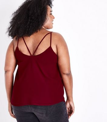 Curves Burgundy Strappy Back Cami Top New Look