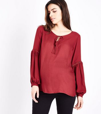 Maternity Burgundy Lace Trim Tie Neck Blouse
