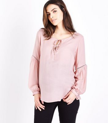 Maternity Pale Pink Lace Trim Tie Neck Blouse