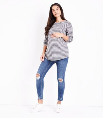 Maternity Light Grey Stripe Long Sleeve T-Shirt New Look
