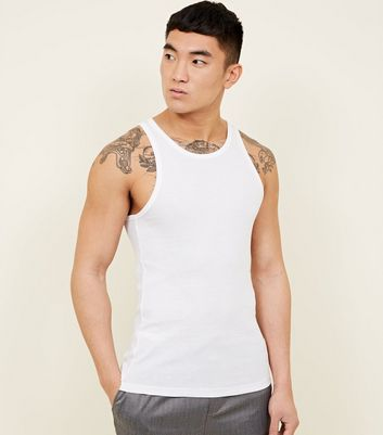 White Muscle Fit Ribbed Vest