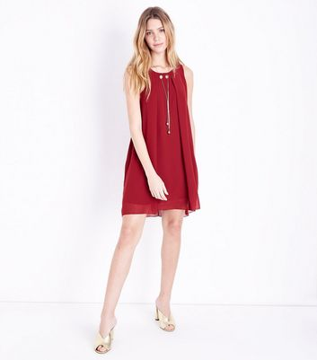 Cameo Rose Burgundy Necklace Trim Tunic Dress New Look