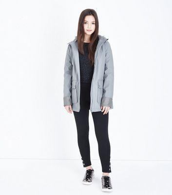 Teens Grey Hooded Mac New Look
