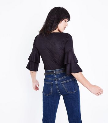 Mela Black Suedette Tiered Sleeve Top New Look