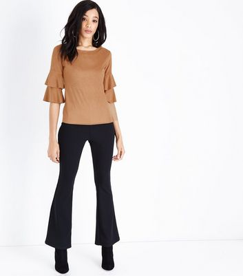Mela Tan Suedette Tiered Sleeve Top New Look