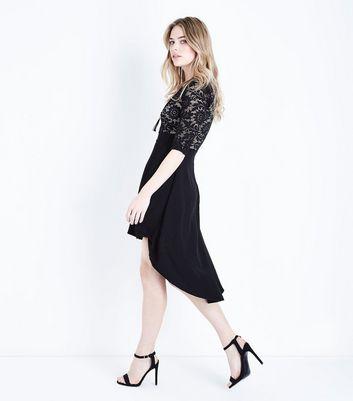Mela Black Lace Dip Hem Dress New Look