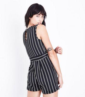 Mela Black Stripe Playsuit New Look