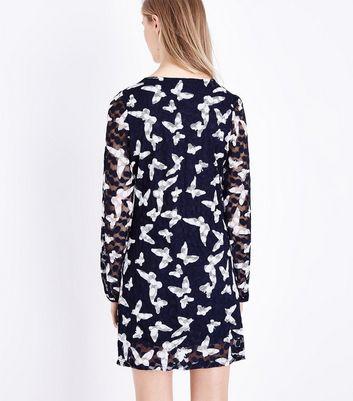 Mela Blue Lace Butterfly Print Tunic Dress New Look