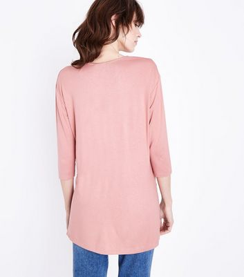 Pink Lattice Front Tunic Top New Look