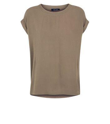 Khaki Woven Jersey T-Shirt New Look