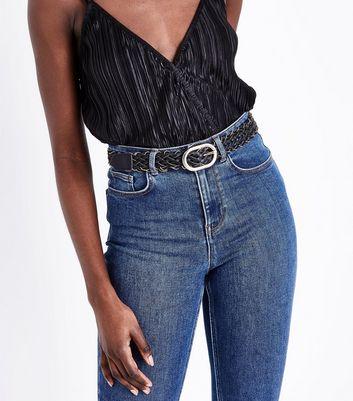 Black Plaited Chain Jeans Belt New Look