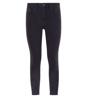 Petite Black Floral Cut Out Skinny Jeans New Look